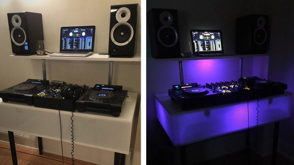 DIY DJ booth with flashy lights!