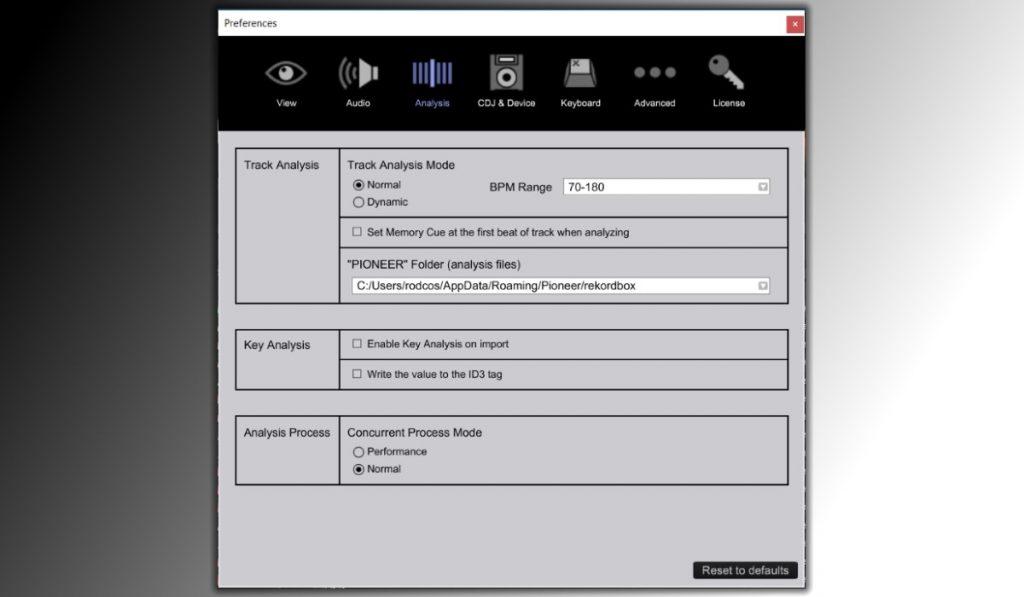 Rekordbox DJ track analysis options