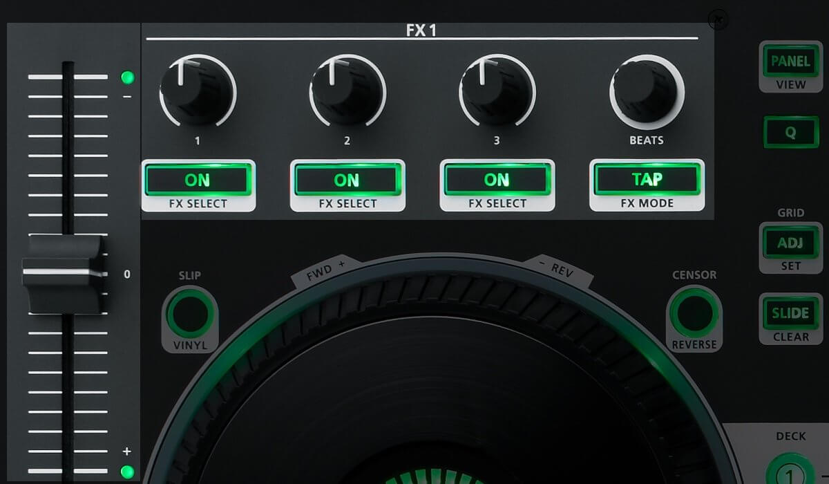 Roland DJ-808 effect section and pitch fader.