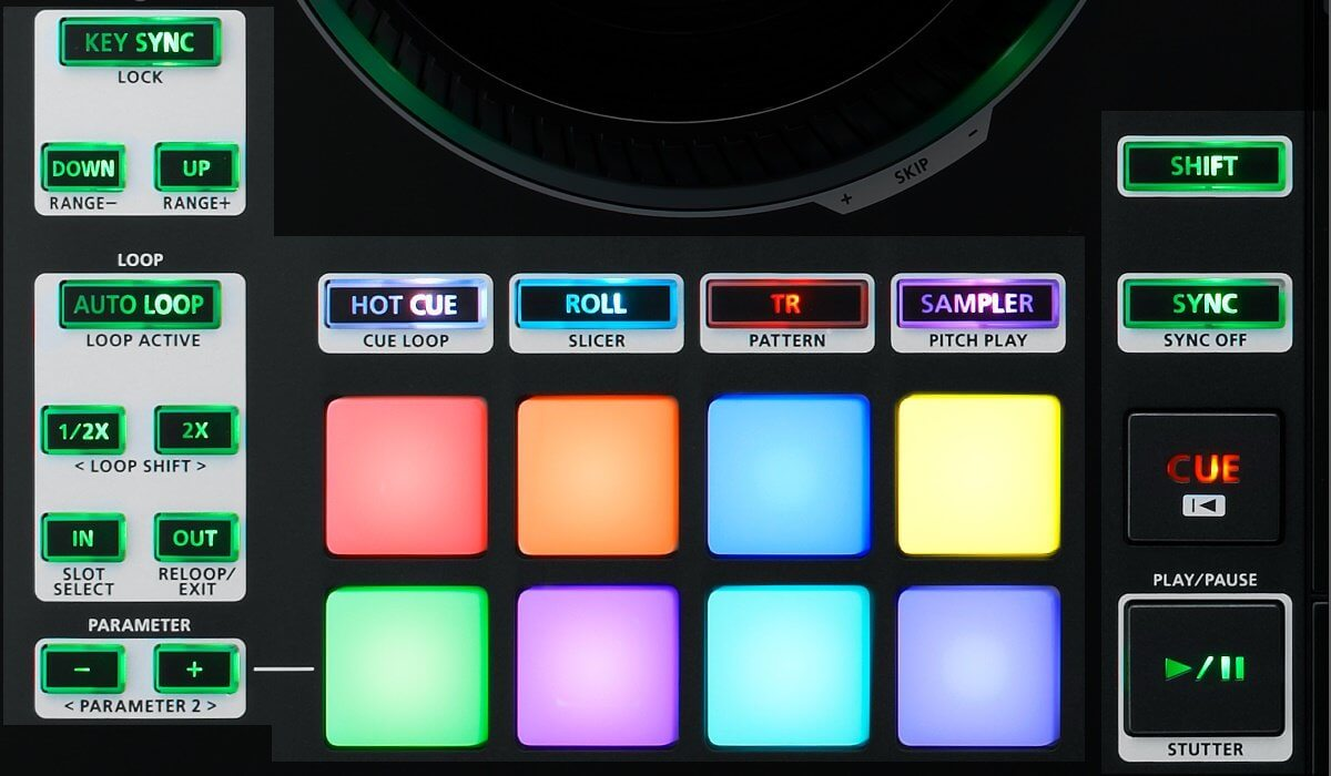 Roland DJ-808 tranport and performance section.