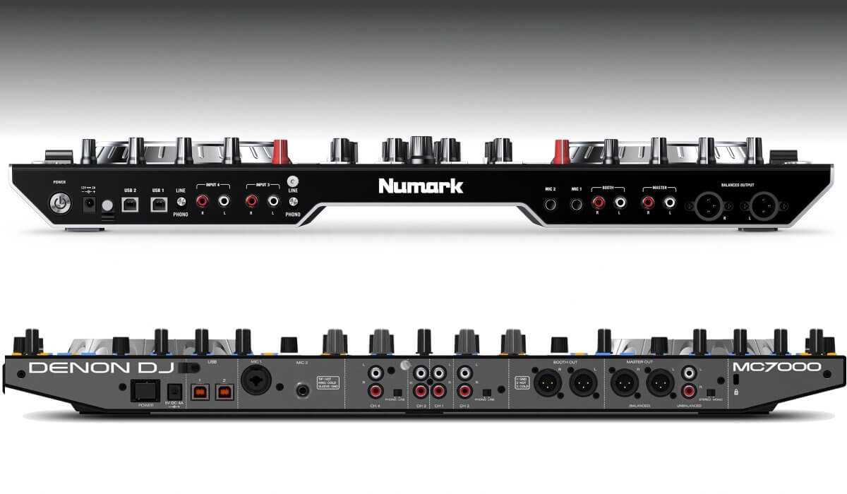 Numark NS6II versus Denon DJ MC7000: the back