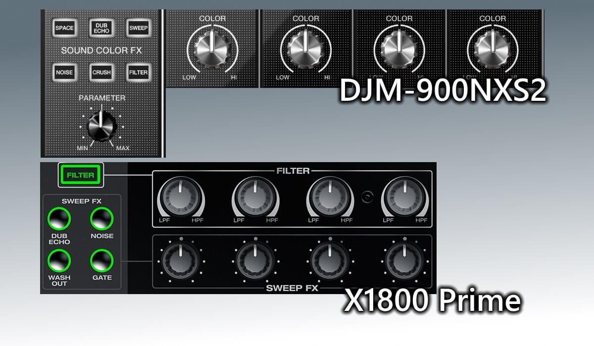 X1800 sweep effects compared to the 900NXS2 sound colour effects