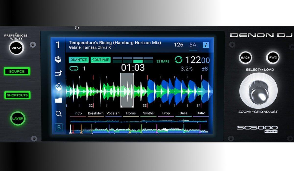 Denon DJ SC5000 Prime screen detailed.