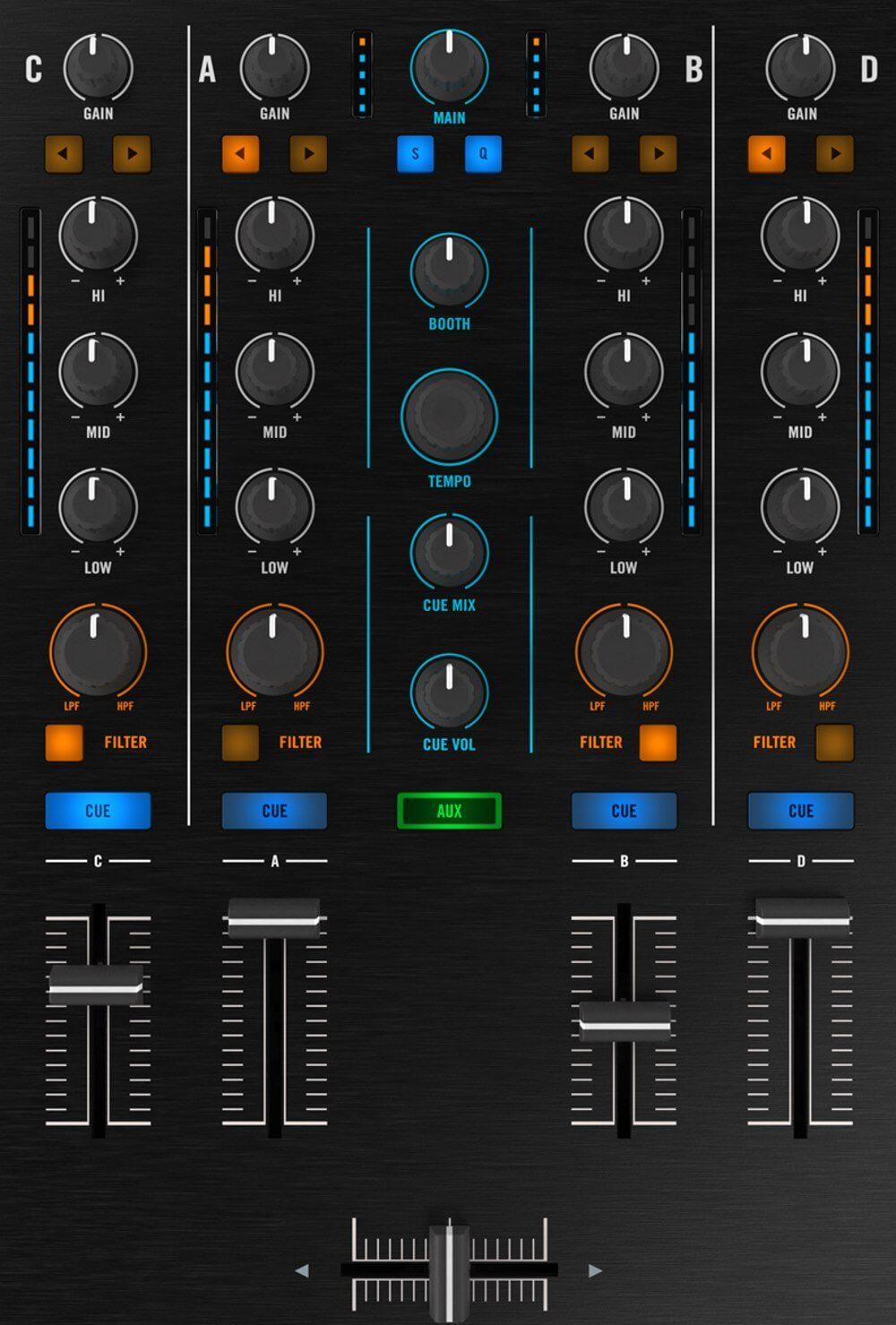 Native Instruments Traktor Kontrol S5 mixer section.
