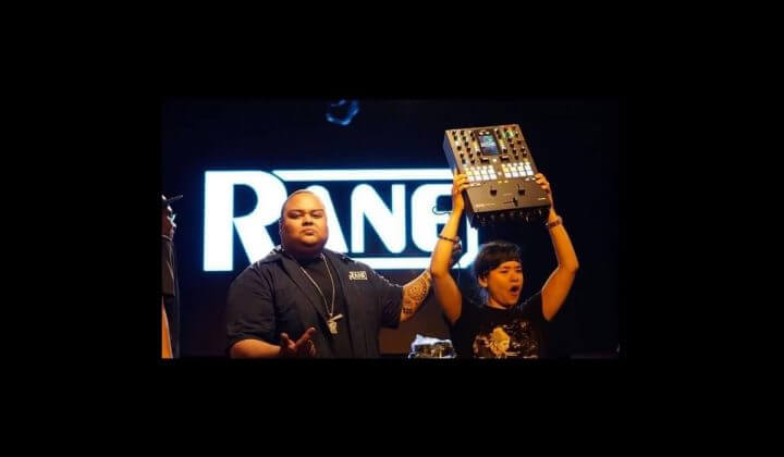 DJ Perly with her Rane Seventy Two.