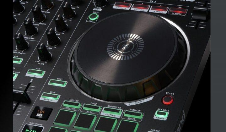 Roland DJ-202 jog wheel detail.