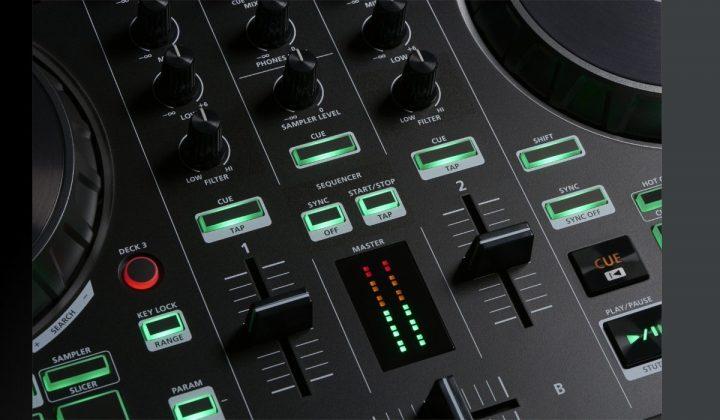 Roland DJ-202 mixer detail.