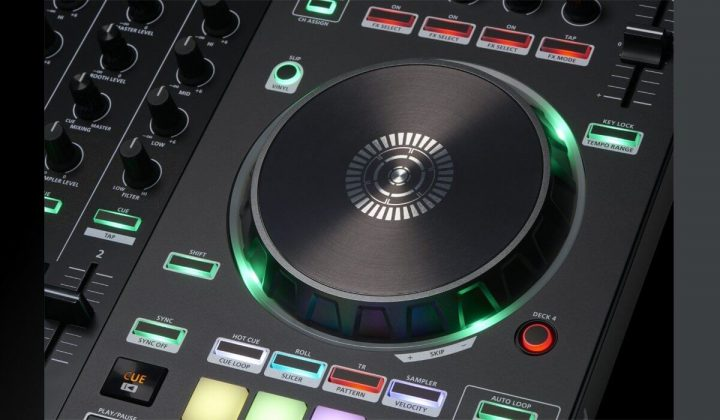 Roland DJ-505 jog wheel detail.