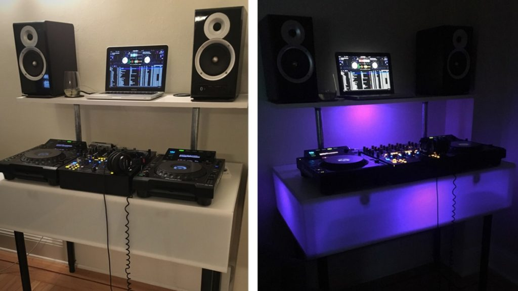 DIY DJ booth with flashy lights!