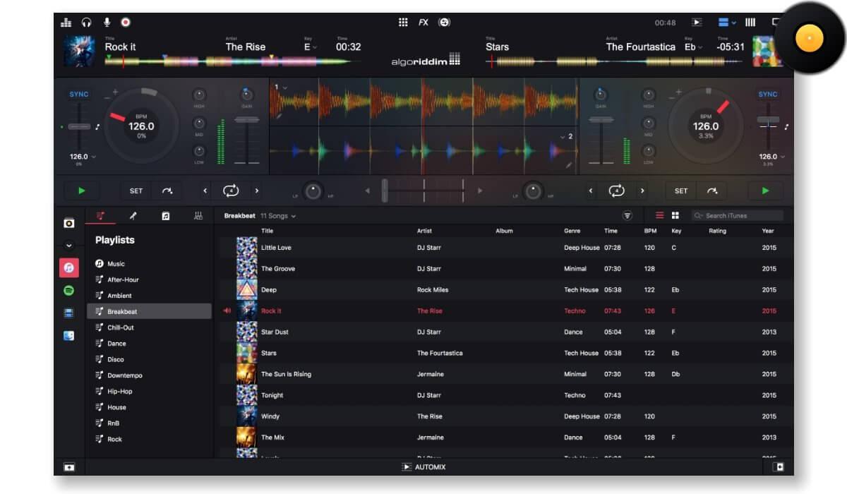 Algoriddim's djay Pro main interface
