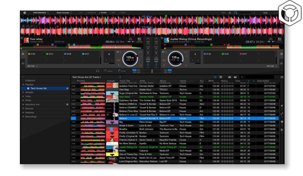 Rekordbox DJ's main interface.