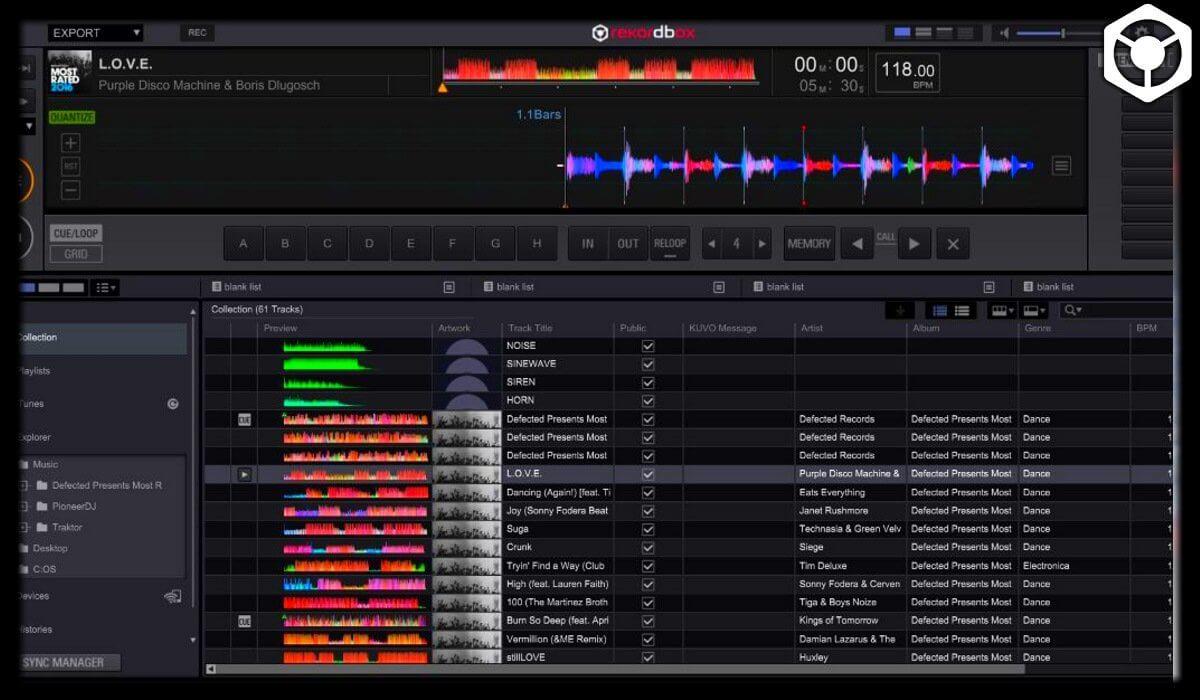 Rekordbox music management screen overview