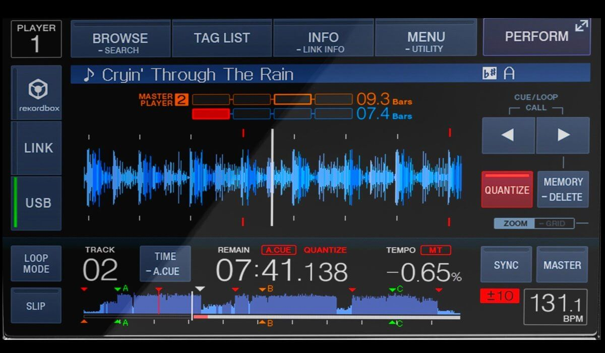 Pioneer DJ XDJ-700 touchscreen