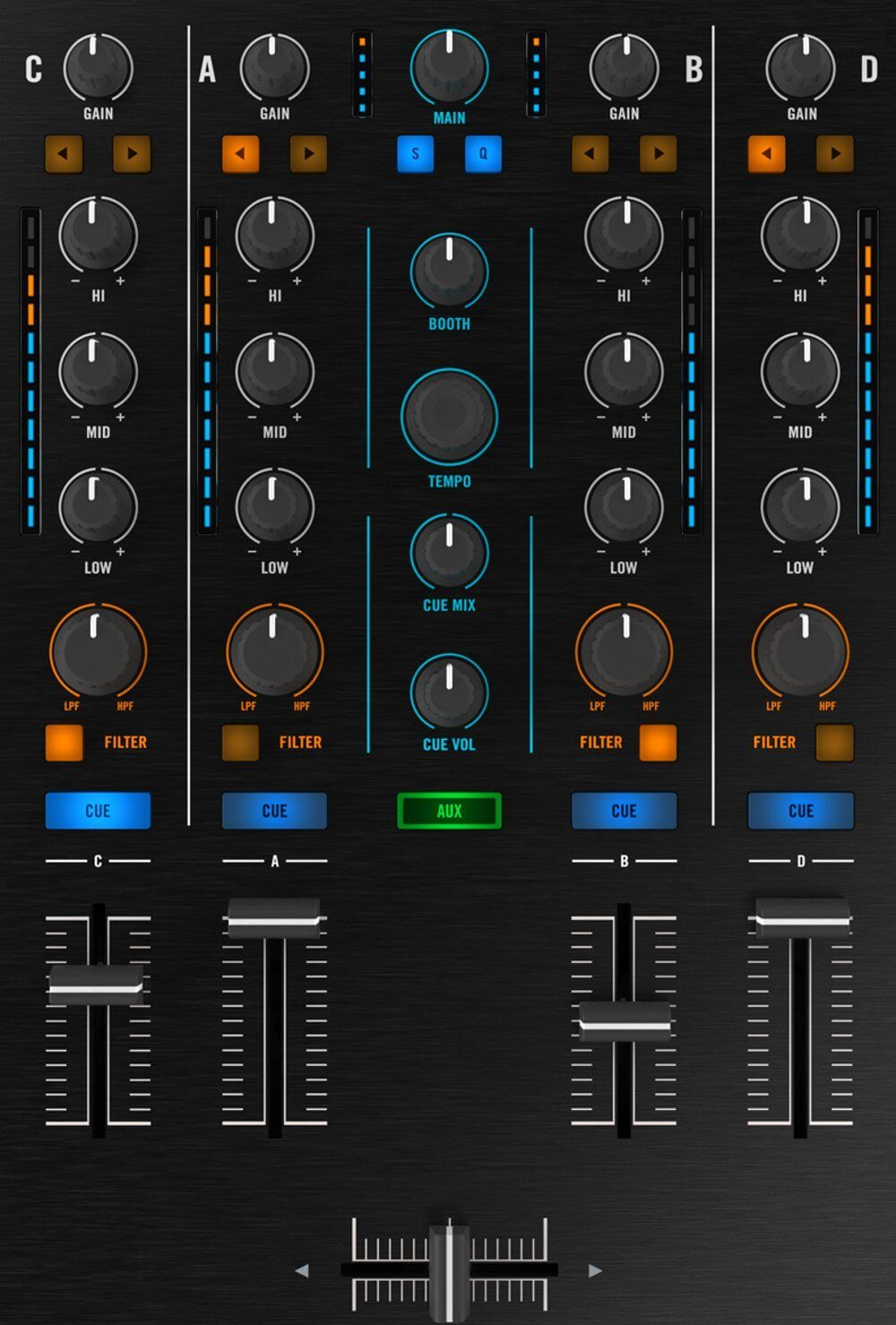 Native Instruments Traktor Kontrol S5 mixer section.