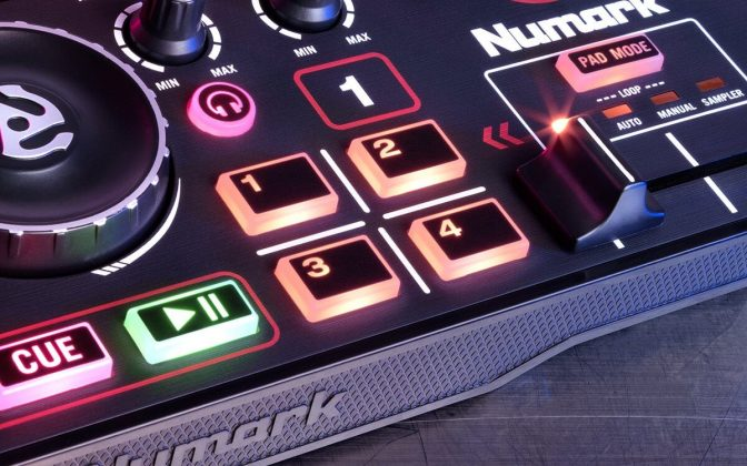 Numark DJ2GO2 pads.