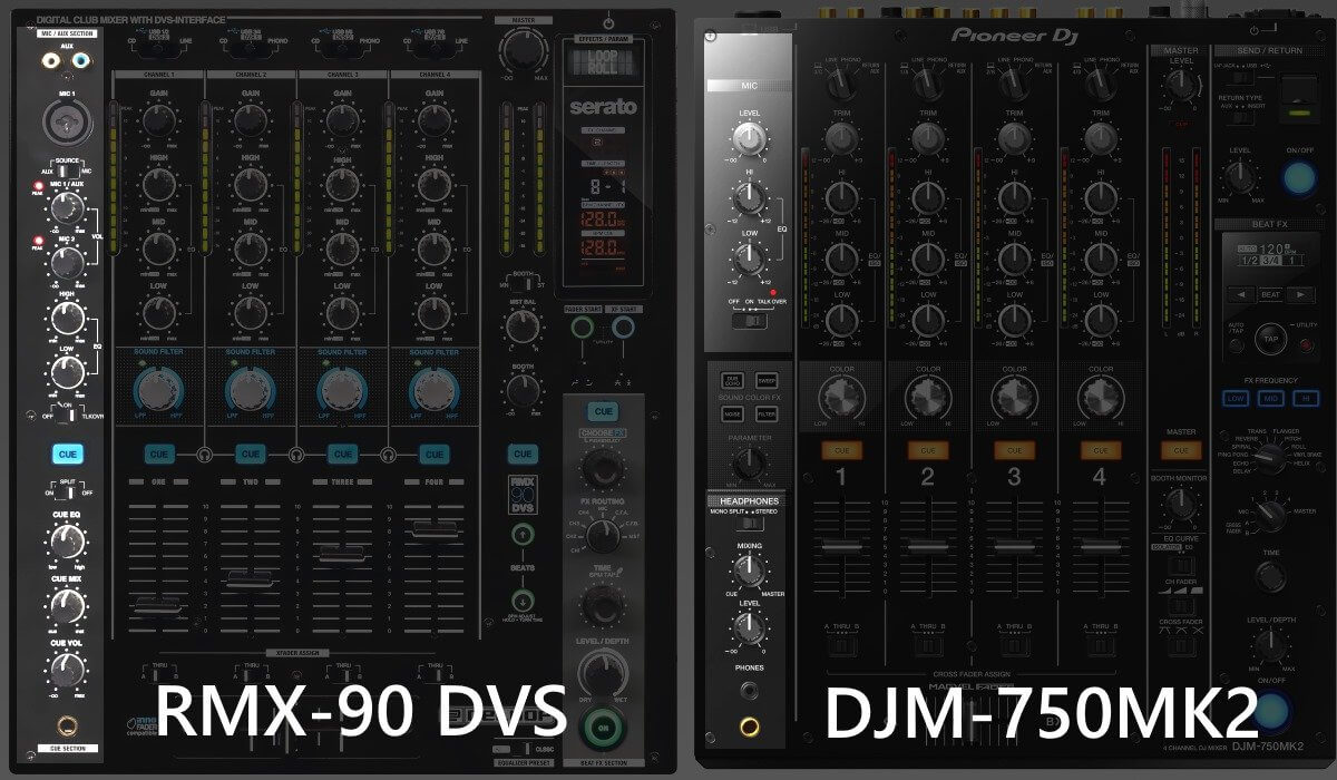 Pioneer DJ DJM-750MK2 versus Reloop RMX-90 DVS: mic and headphone section.
