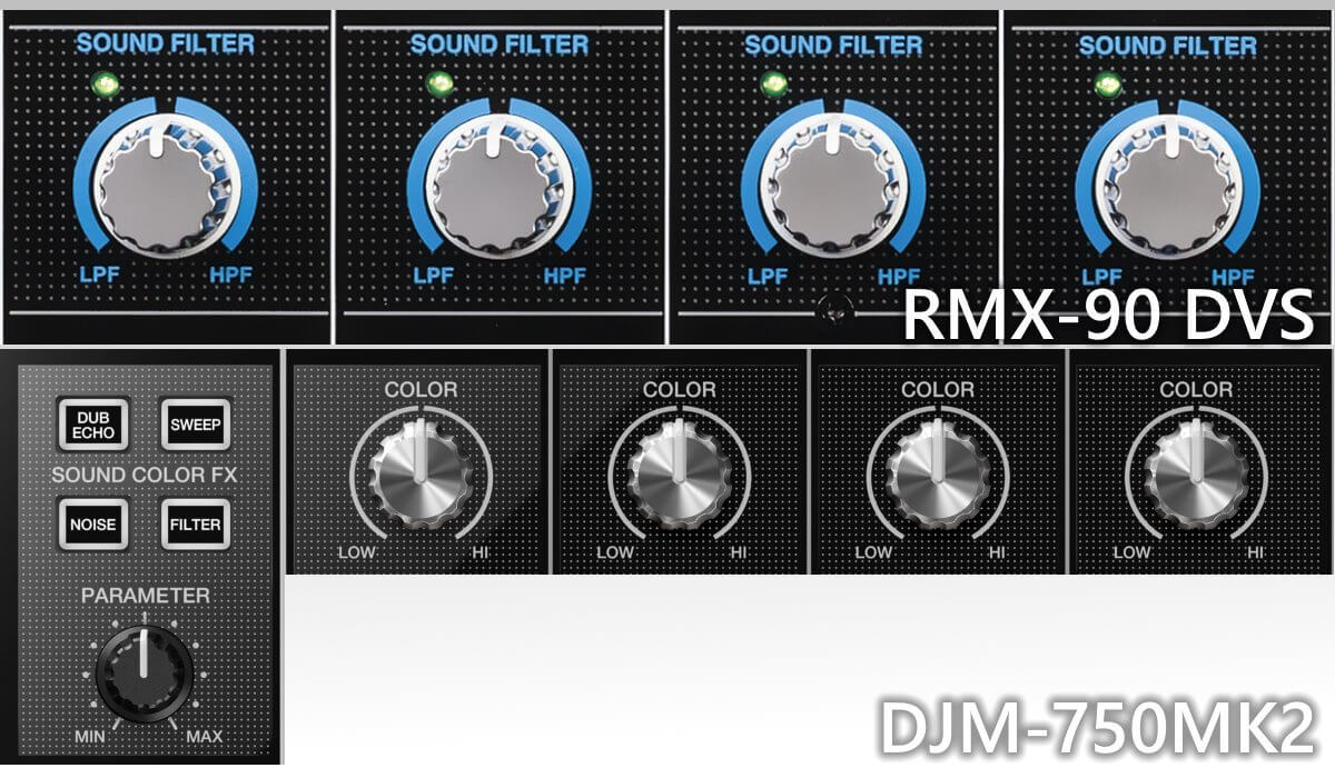 Pioneer DJ DJM-750MK2 versus Reloop RMX-90 DVS: EQ filters and effects.