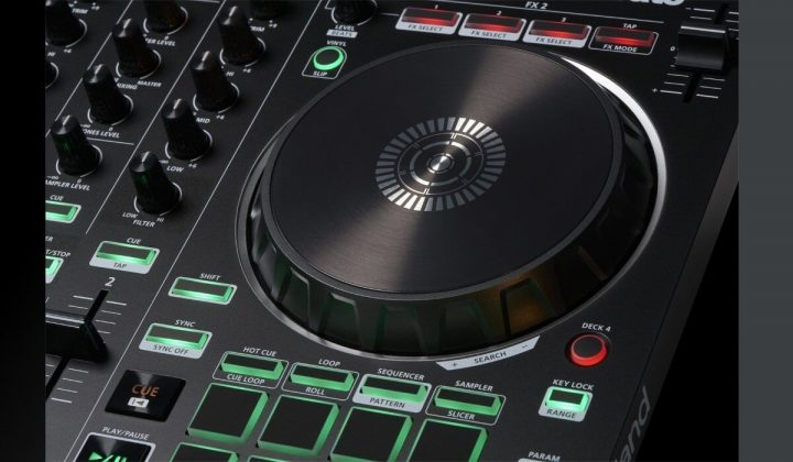 Roland DJ-202 jog wheel detail.