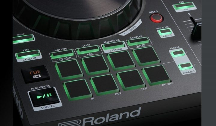Roland DJ-202 performance pads detail.