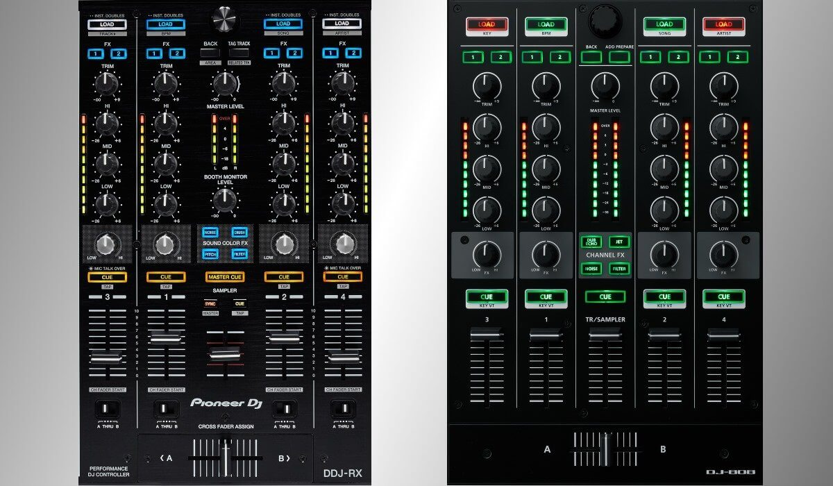 The DJ-808 and the DDJ-RX mixers compared