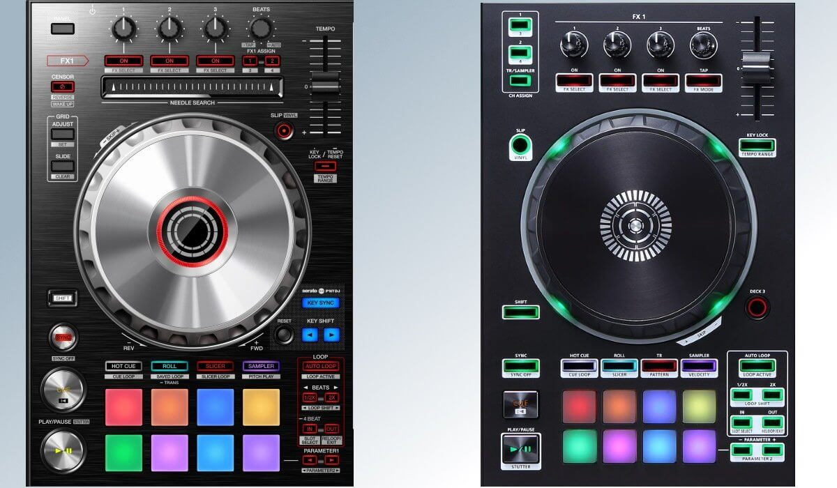 DJ-SR2 (left) and DJ-505 (right) decks compared