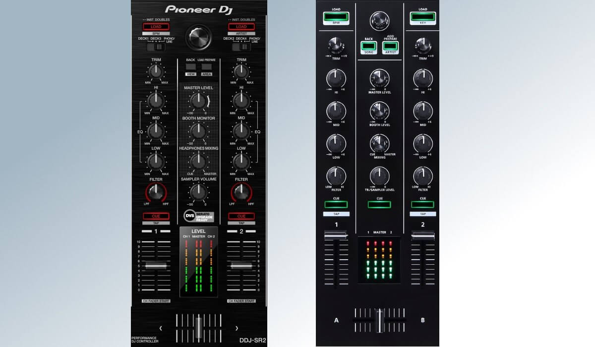 The DDJ-SR2 mixer (right) compared to the DJ-505 mixer (left)