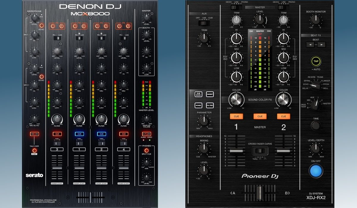 Pioneer DJ XDJ-RX2 and Denon DJ MCX8000 mixer compared