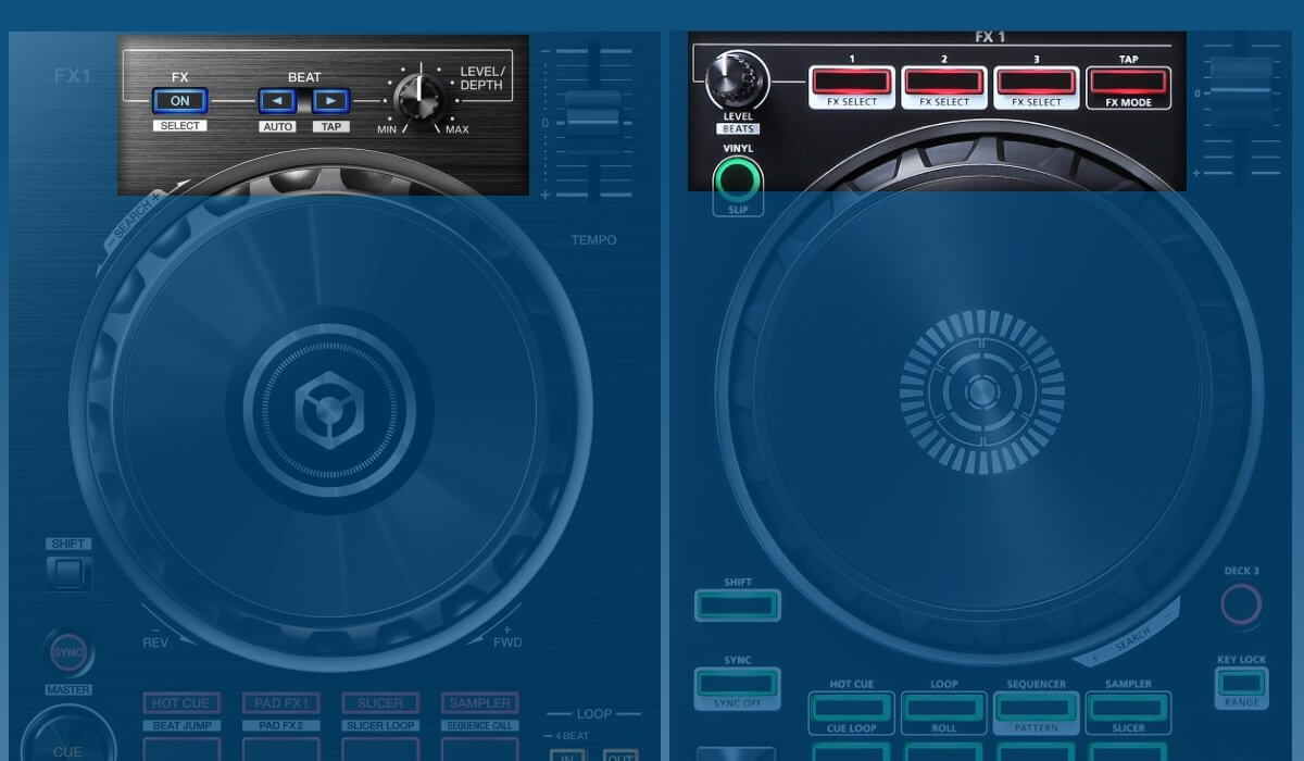 Pioneer DJ DDJ-RB versus Roland DJ-202: effect section compared