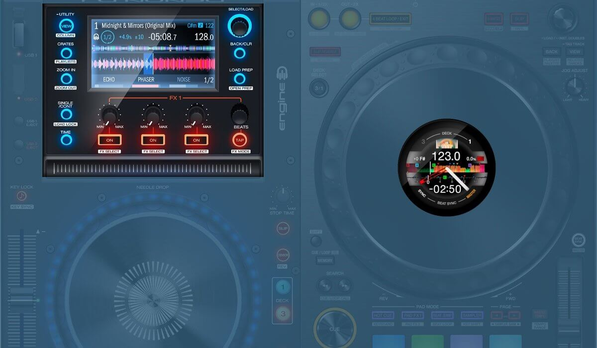 Denon DJ MCX8000 versus the Pioneer DJ DDJ-1000: the screens compared.