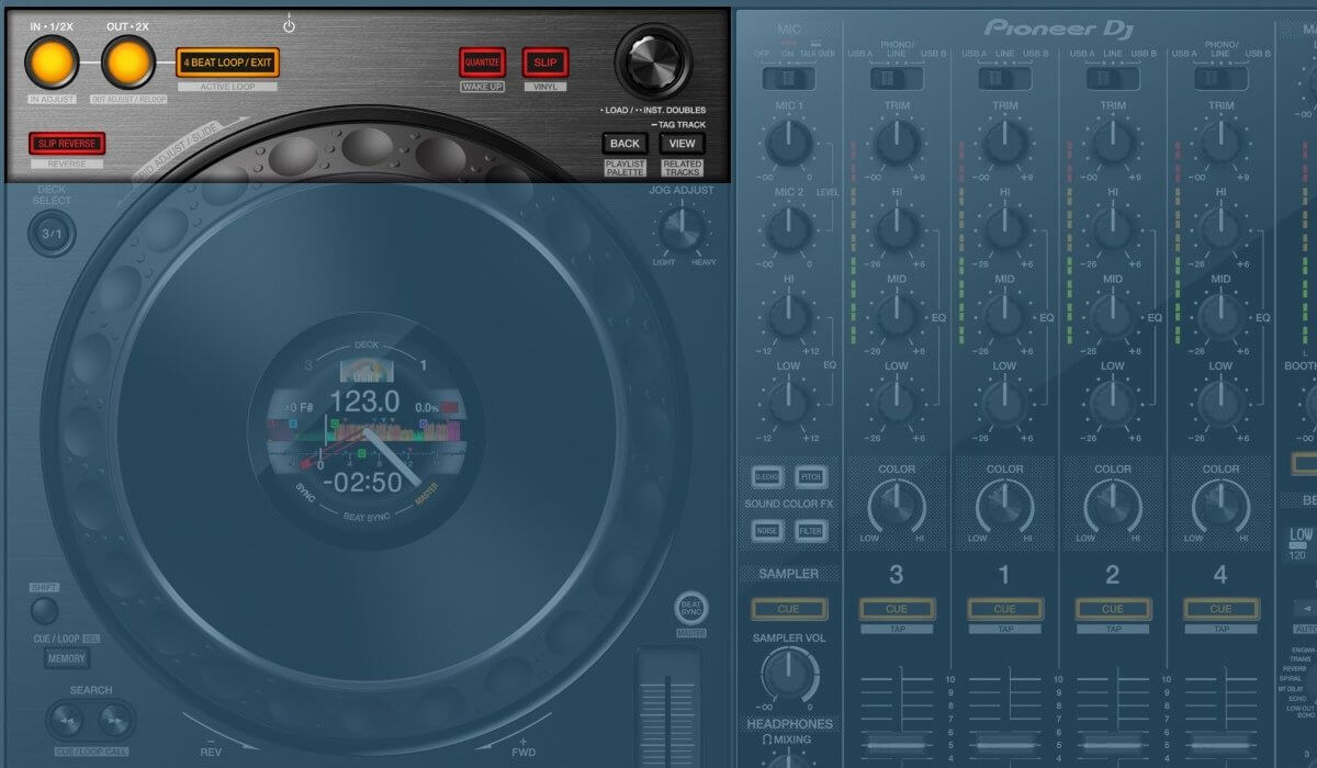 Pioneer DJ DDJ-1000 loop and library controls
