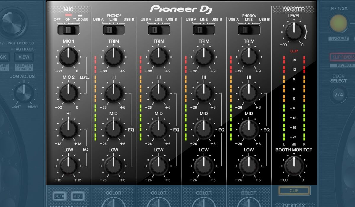 Pioneer DJ DDJ-1000 top section of the mixer