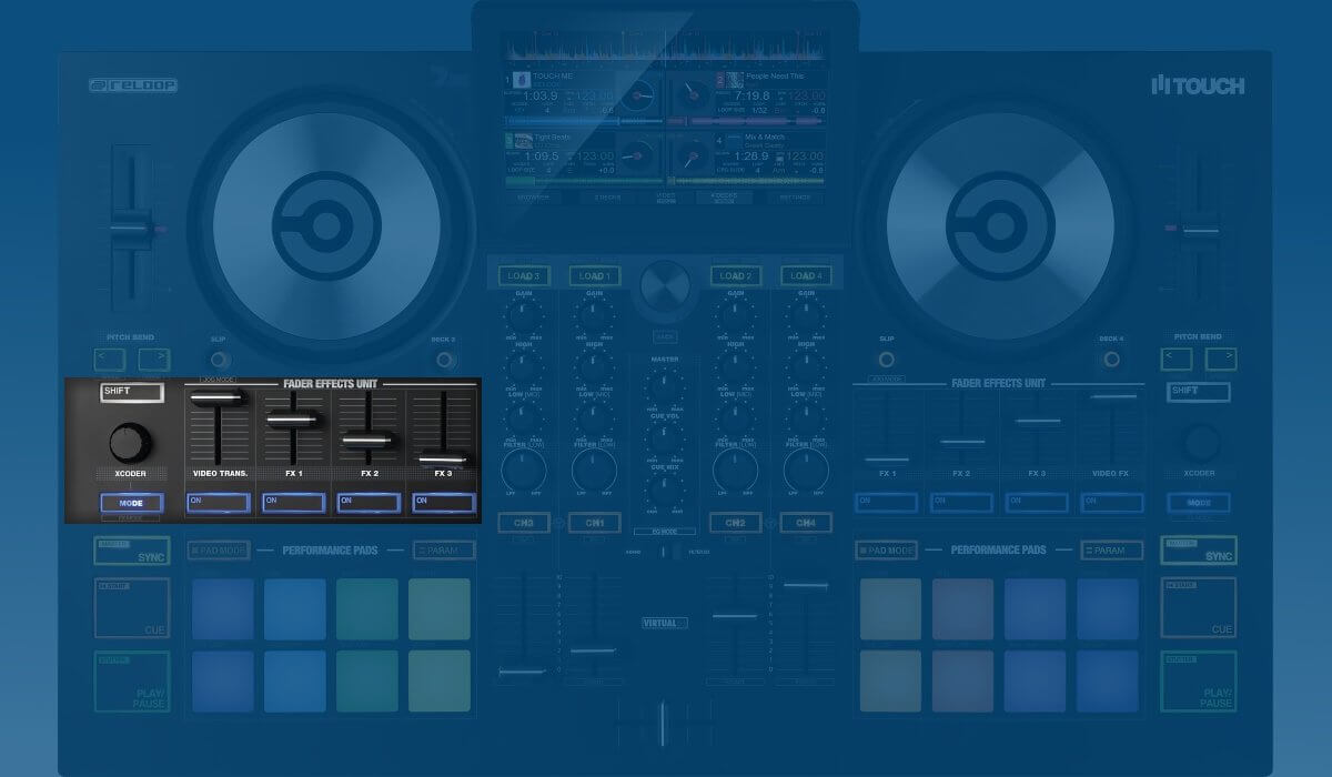 Reloop Touch FX fader section