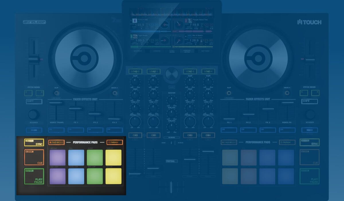 Reloop Touch performance pads & transport section