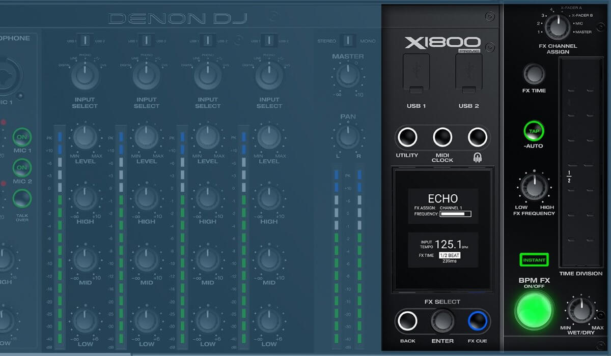 Denon DJ X1800 Prime BPM effects section