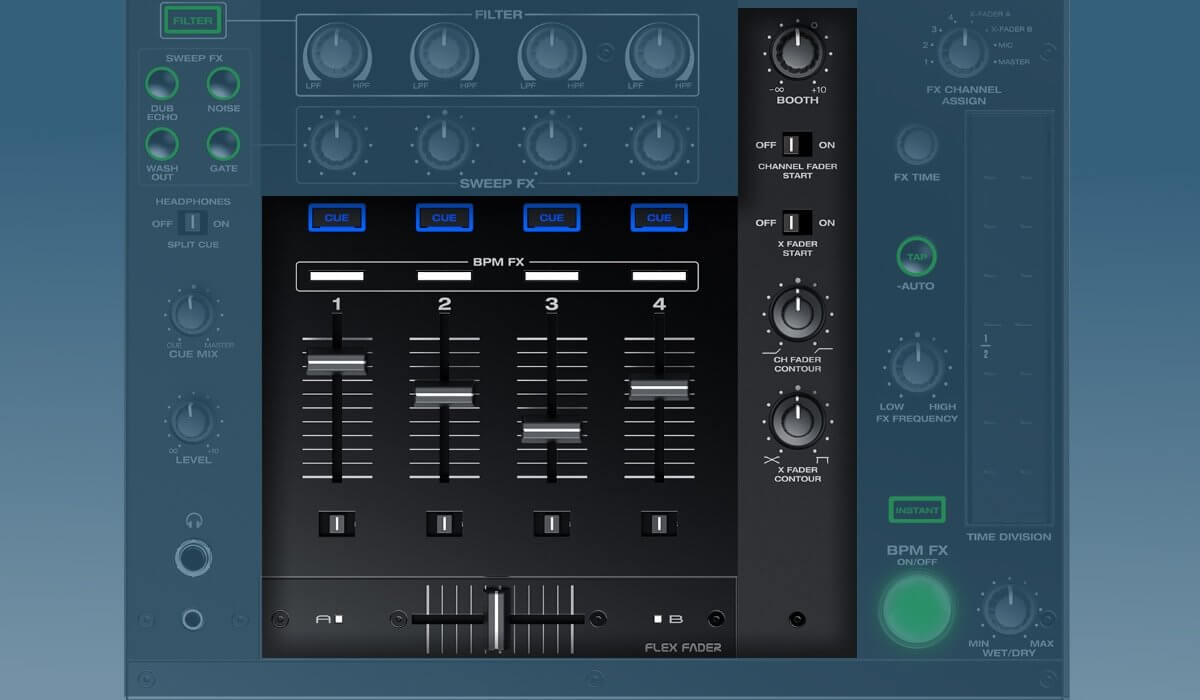 Denon DJ X1800 Prime faders and booth controls