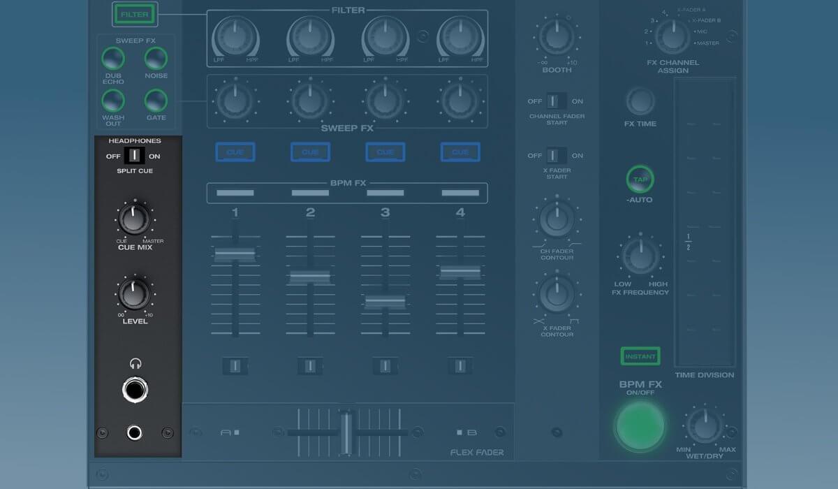 Denon DJ X1800 Prime headphone section