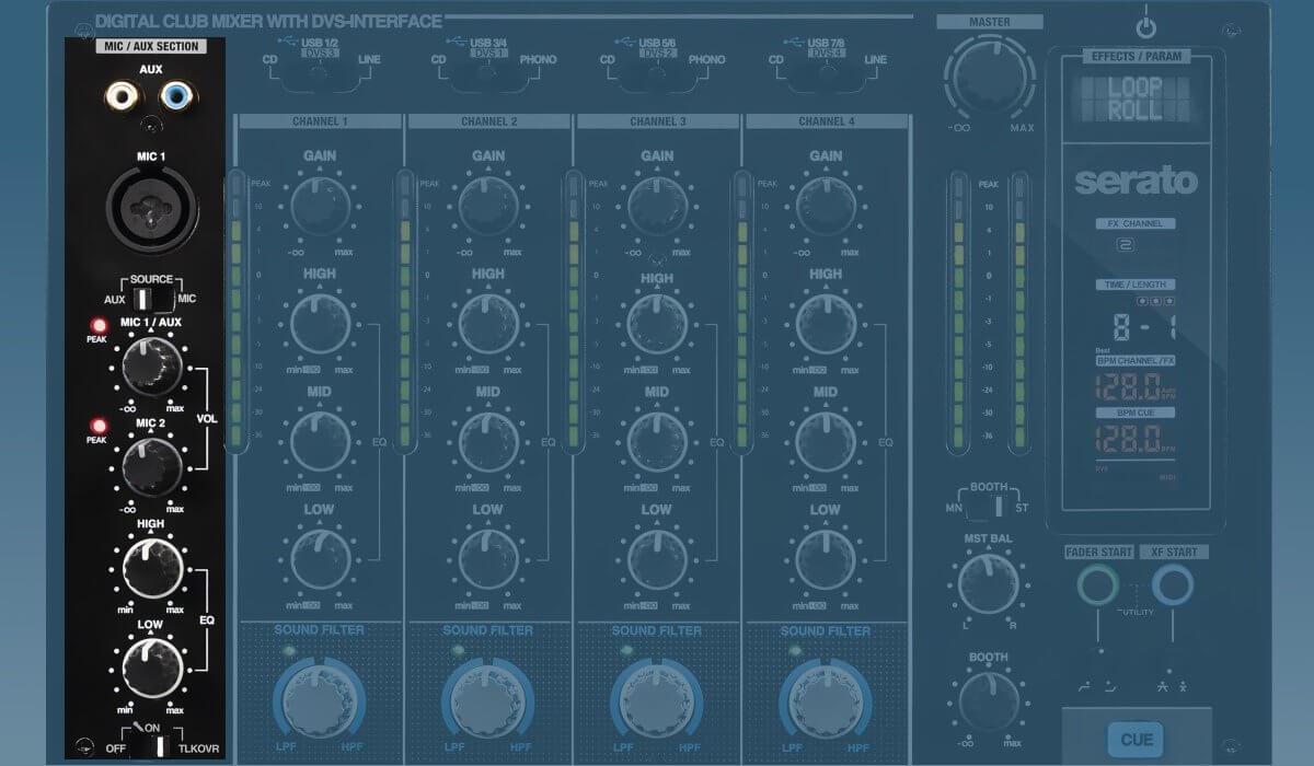Reloop RMX-90 DVS microphone & AUX inputs