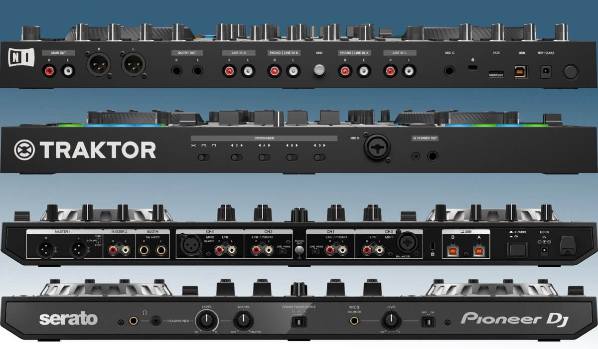 Pioneer DJ DDJ-SX3 versus Native Instruments Traktor Kontrol S4 MK3: the inputs & outputs compared