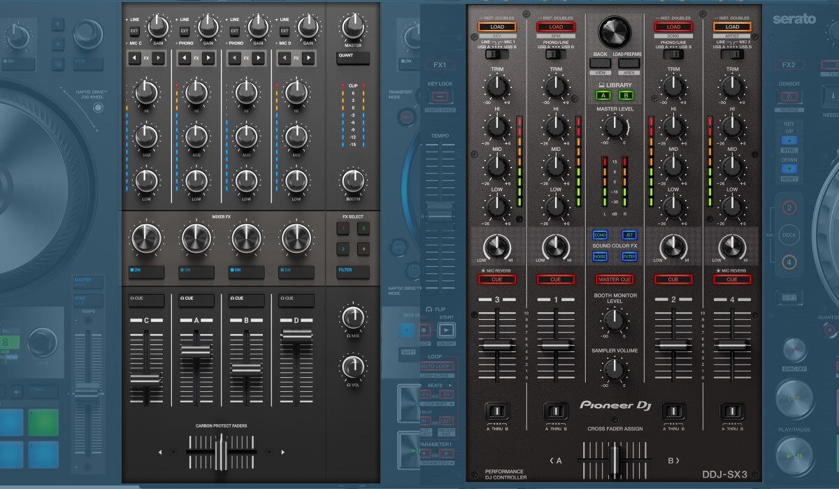Pioneer DJ DDJ-SX3 versus Native Instruments Traktor Kontrol S4 MK3: the mixers compared