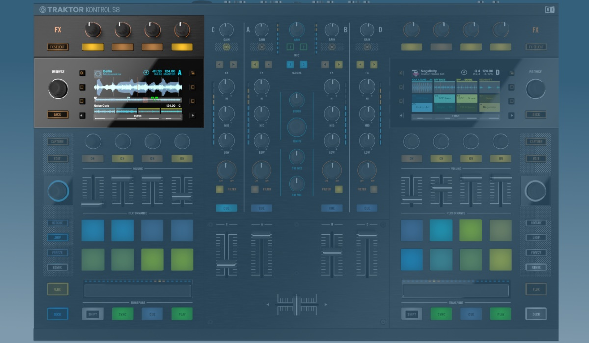 Native Instruments Traktor Kontrol S8 screen and effects