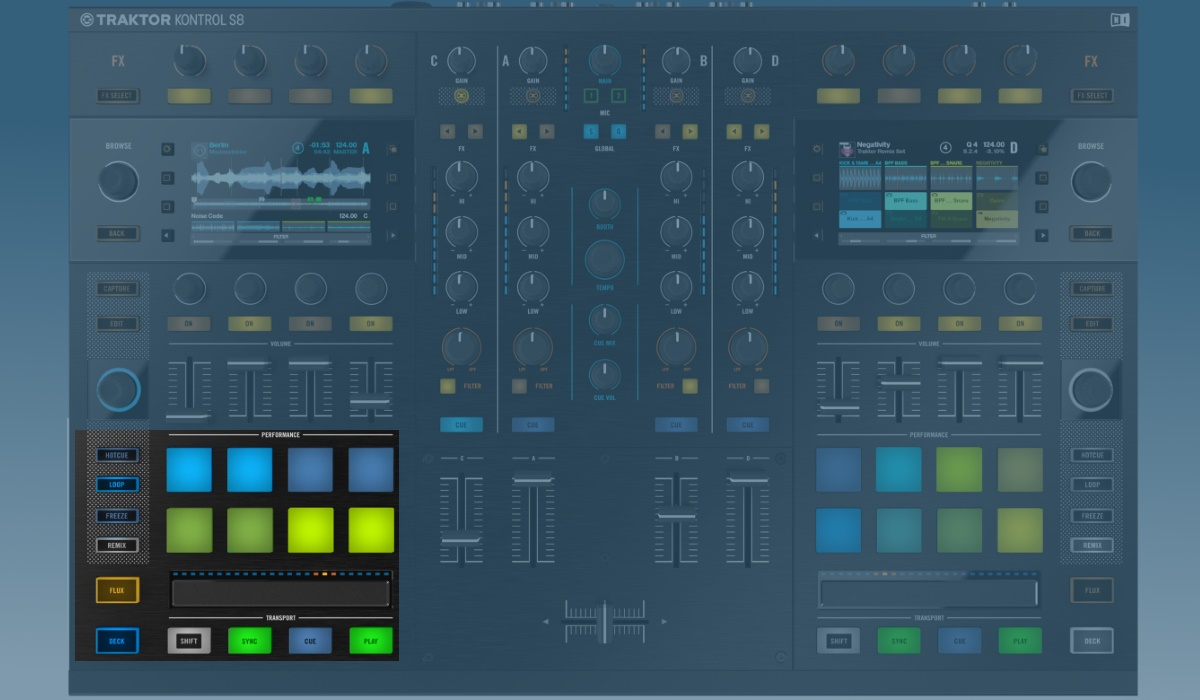 Native Instruments Traktor Kontrol S8 performance pads and transport controls