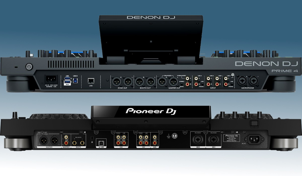 Denon DJ Prime 4 versus Pioneer DJ XDJ-RX2: the inputs and outputs compared.