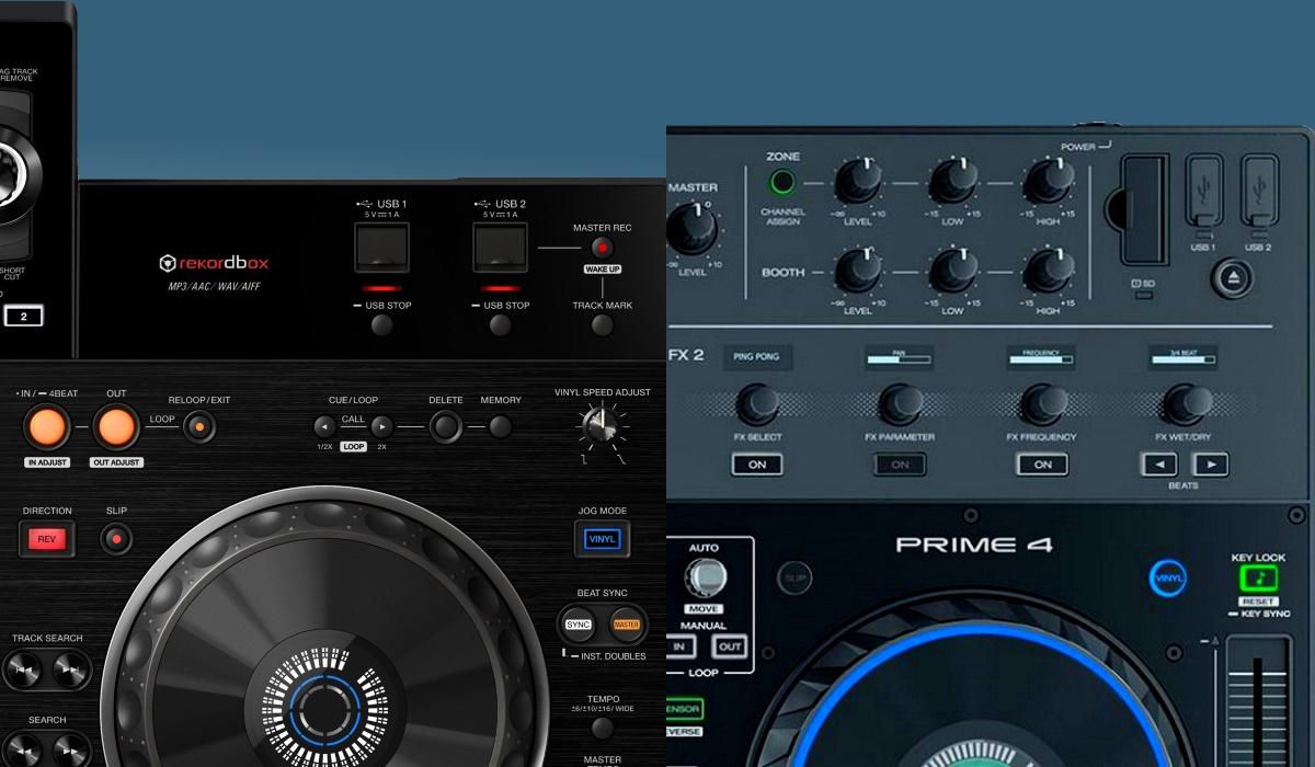 Denon DJ Prime 4 versus Pioneer DJ XDJ-RX2: the storage options compared.