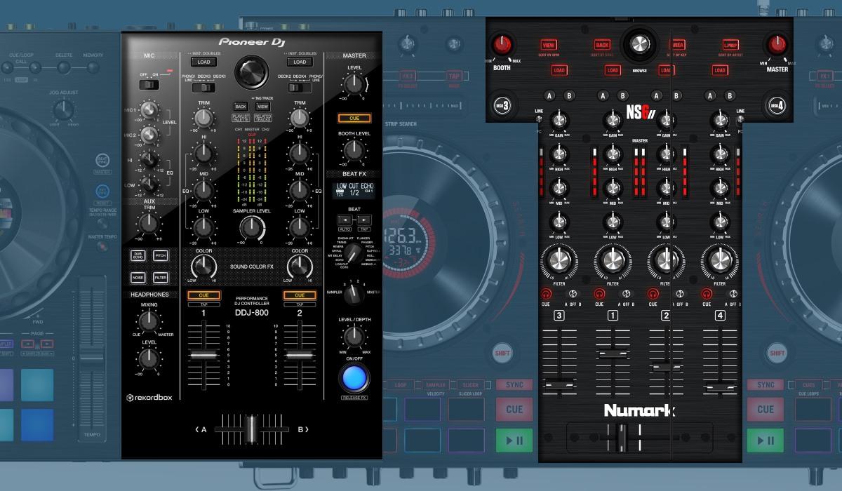 Pioneer DJ DDJ-800 versus Numarks NS6II: the mixers compared.