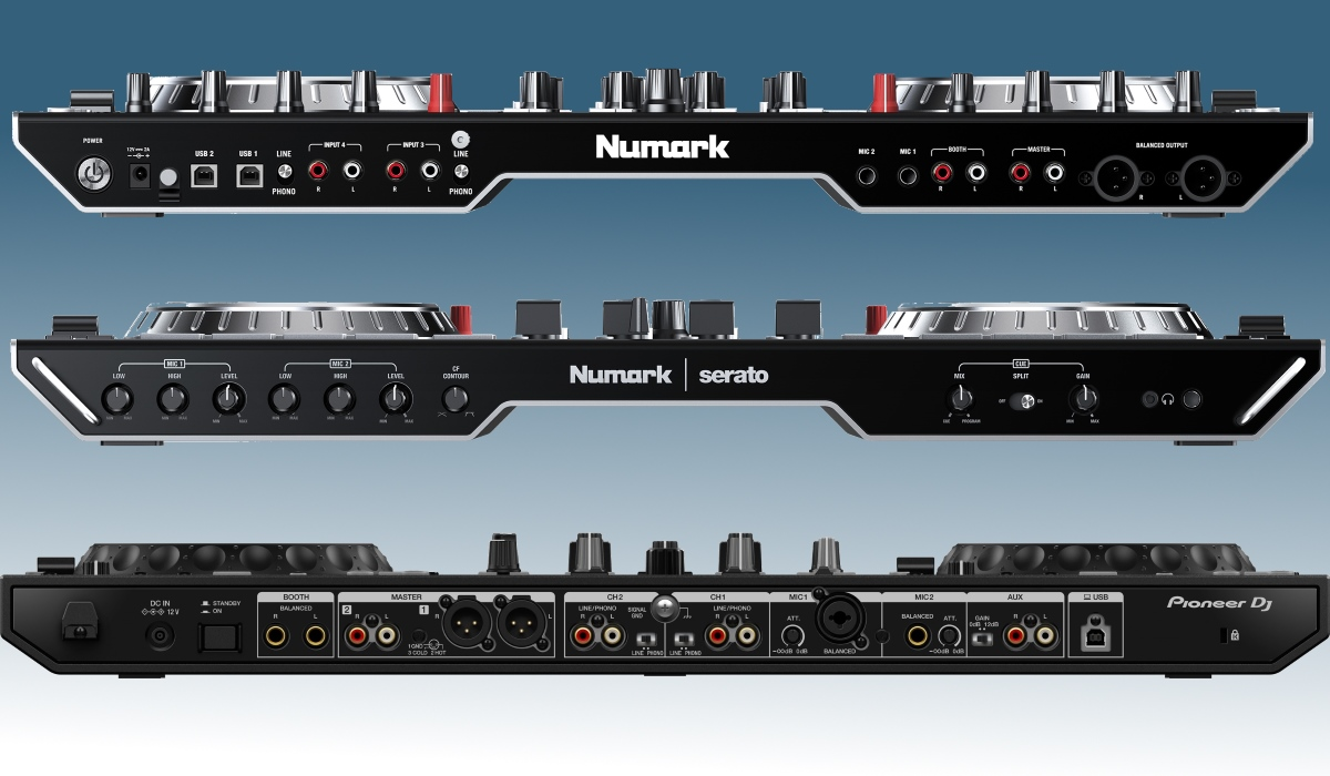 Pioneer DJ DDJ-800 versus Numarks NS6II: the inputs and outputs compared.