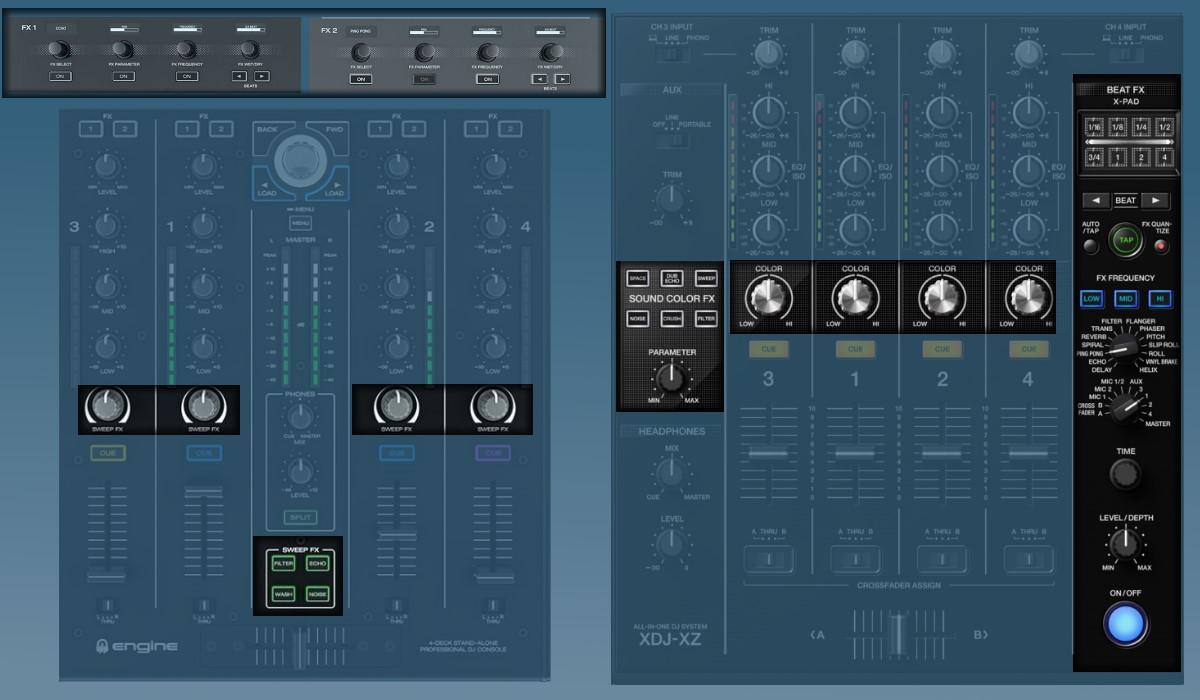 Pioneer DJ XDJ-XZ versus the Denon DJ Prime 4: the effects