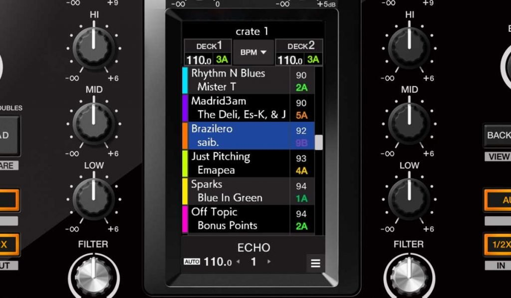 Browse section screen on the Pioneer DJM-S11