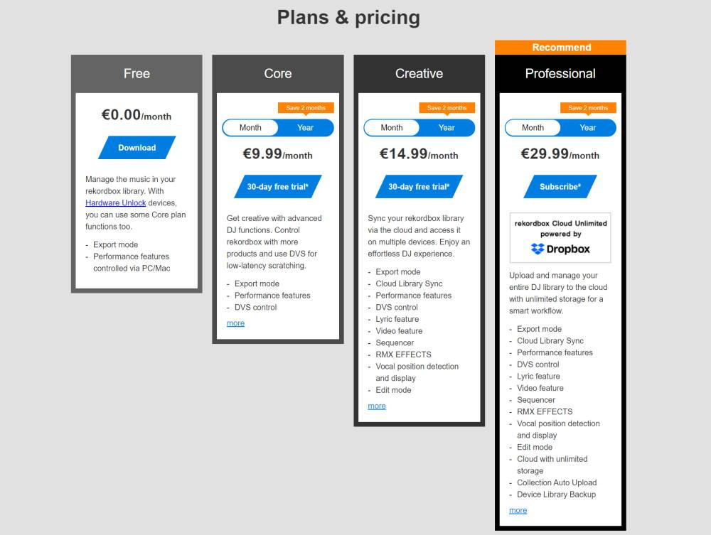 Rekordbox pricing plans